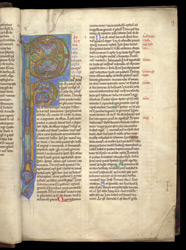 Illuminated Initials, In Peter Lombard, Commentary On The Pauline Epistles f.3r